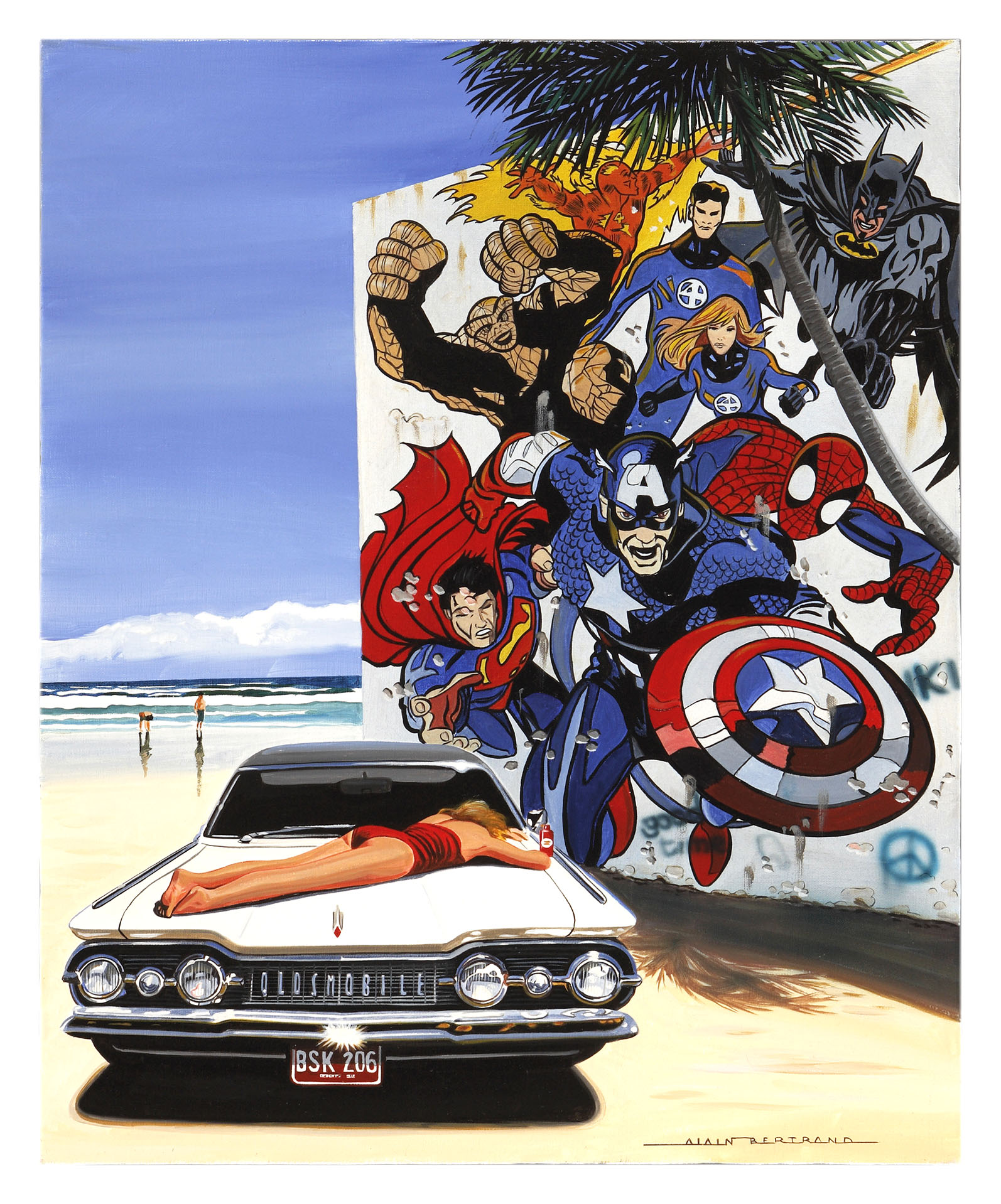 SUPER HEROES ON THE BEACH 81X65